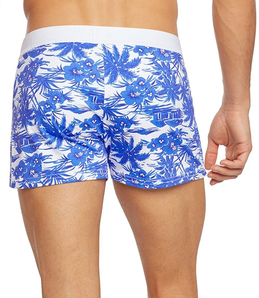 SAUVAGE Blue Hawaii Print Retro Lycra Swimmer 2019SS