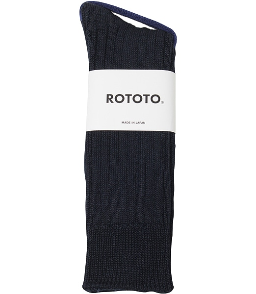 ROTOTO Linen Cotton Ribbed Crew Socks